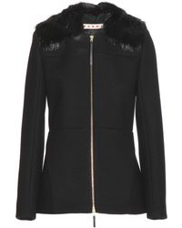 Marni Cotton-Blend Jacket With Detachable Fur Collar - Lyst