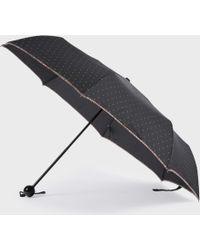 Paul Smith Black Polka Dot Telescopic Umbrella With 'Swirl' Trim