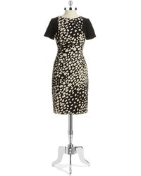 Adrianna Papell Dotted Short Sleeved Dress - Lyst