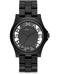 Marc By Marc Jacobs Henry Skeleton Black Nylon Bracelet Watch - Lyst
