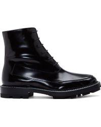 Jil Sander Black Semigloss Leather Combat Boots - Lyst