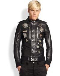 Diesel Black Gold Embellished Leather Military Jacket - Lyst