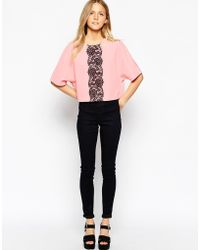 Girls On Film Scuba Top With Lace Strip - Pink