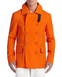 F. Faconnable Double-Breasted Cotton Peacoat orange - Lyst