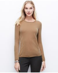 Ann Taylor Beige Cashmere Sweater - Lyst