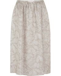 Rochas Metallic Silk-blend Jacquard Midi Skirt - Lyst