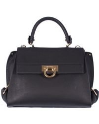 "Ferragamo Black Hammered Leather ""Sofia"" Bag black - Lyst"