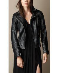 Burberry Leather Biker Jacket - Lyst