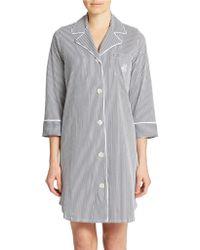 Lauren by Ralph Lauren Blue Striped Sleepshirt - Lyst