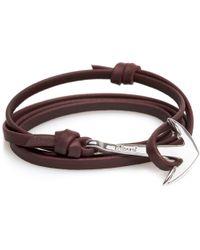 Miansai | Burgundy Leather Silver Anchor Bracelet | Lyst