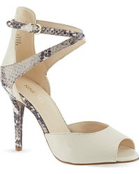 Nine West Doreen Snake Print Heeled Sandals - Lyst