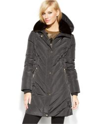 Michael Kors Michael Petite Hooded Quilted Parka - Gray