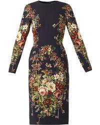 Dolce & Gabbana Floralprint Cady Dress - Lyst