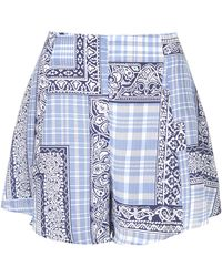 Topshop Womens Patchwork Flippy Shorts By Boutique Navy Blue - Lyst