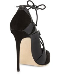 Alejandro Ingelmo Ilaria Patent Suede Laceup Pointtoe Pump Black - Lyst