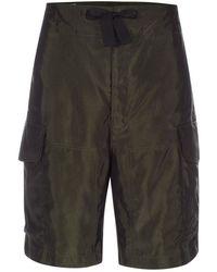 Paul Smith Men's Khaki Cupro-satin Cargo Shorts - Green