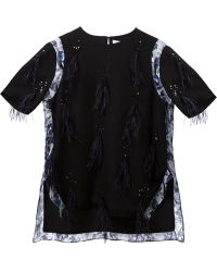 Prabal Gurung Black Feathered Top - Lyst