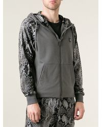 Roberto Cavalli Snake Print Sleeve Hoodie Jacket - Lyst