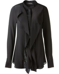 Thakoon Black Silk Blouse Embellished with Ruffles and Lace Yokes On The Front - Lyst