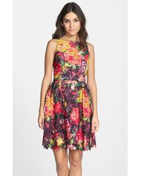 Adrianna Papell Floral Print Lace Fit & Flare Dress - Lyst