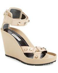 Balenciaga Studded Ankle Strap Wedge Sandal beige - Lyst