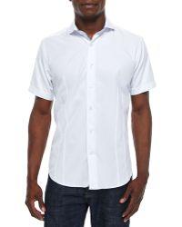 Bogosse Short-Sleeve Woven Jacquard Sport Shirt - Lyst