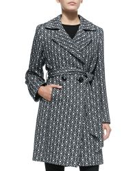 Sofia Cashmere Graphic-Print Double-Breasted Coat gray - Lyst