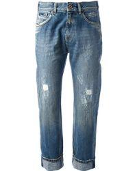 Pence Capri Distressed Jeans - Blue