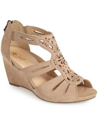 Earthies® 'Morolo' Studded Nubuck Leather Wedge Sandal brown - Lyst