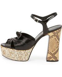 Saint Laurent Snakeskin & Glitter Platform Sandal - Lyst