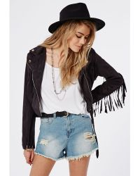 Missguided Fringed Faux Suede Biker Jacket Black - Lyst
