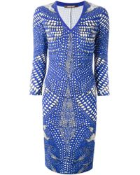 Roberto Cavalli Abstract Print Fitted Dress - Lyst