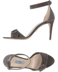 Prada Gray Sandals - Lyst