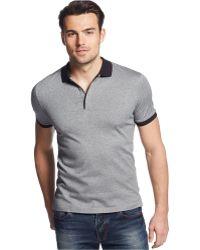 Calvin Klein Solid Collar & Cuffs Polo gray - Lyst