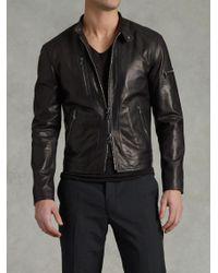 John Varvatos Zip Pocket Leather Jacket - Lyst