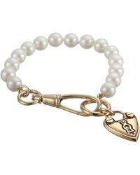 Lauren by Ralph Lauren Bar Harbor 7 12 8mm Pearl W Heart Charm W Hook Closure Bracelet - Lyst