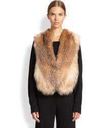 Tamara Mellon Fox Fur Knit Vest - Lyst