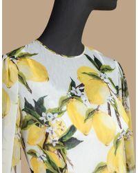Dolce & Gabbana | Printed Chiffon Dress With Circle Skirt | Lyst