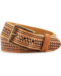 Will Leather Goods - Vintage Tooled Basket-weave Belt - Lyst