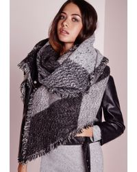 Missguided Soft Textured Blanket Wrap Black