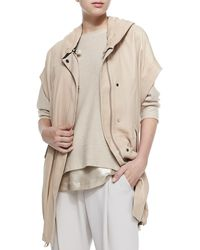 Brunello Cucinelli Leather Anorak Vest with Hood - Lyst