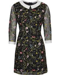 Topshop Womens Embroidered Collar Dress  Black - Lyst