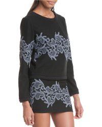 Plenty by Tracy Reese Lace Applique Sweatshirt - Black