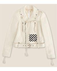 Off White C/o Virgil Abloh Logo-Striped Leather Biker Jacket - For Women - Lyst