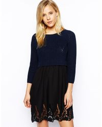 Asos Jumper Dress With Lace Skirt - Lyst