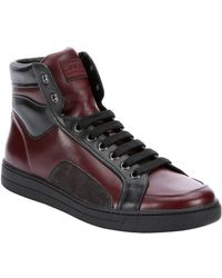 Prada Sport Bordeaux And Black Leather High Top Sneakers - Lyst