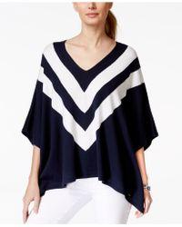 Tommy Hilfiger Striped Sweater Poncho - Blue