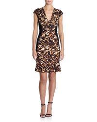 Roberto Cavalli Animal-Print Cap-Sleeve Flounce Dress - Lyst