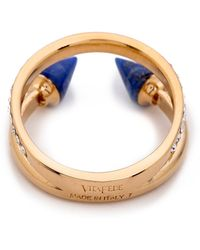 Vita Fede Ultra Mini Titan Stone & Crystal Ring - Black/White/Rose Gold - Blue
