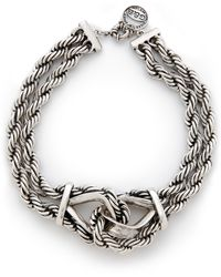 Giles & Brother Heavy Rope Chain Necklace - Silver Ox - Metallic
